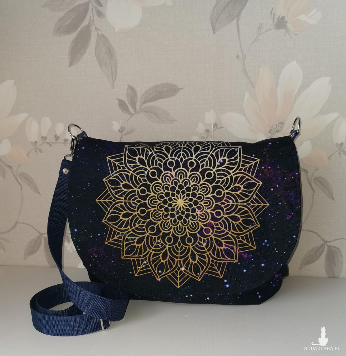 Torebka damska listonoszka torebka z klapką na ramię wodoodporna torba handmade  galaktyka