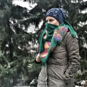 turkus chusta handmade wełniana handmade