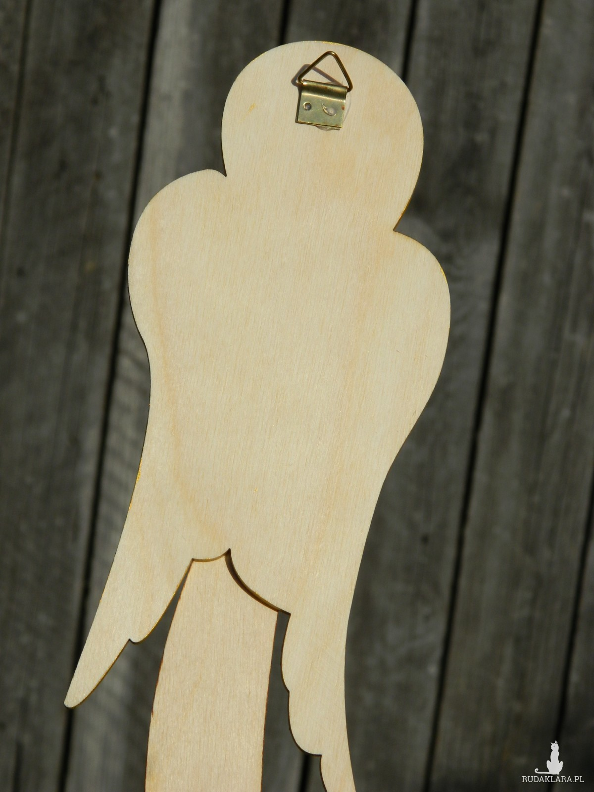 Ludowy anioł drewniany do powieszenia, wzór Bolesławiec, anioł rustykalny