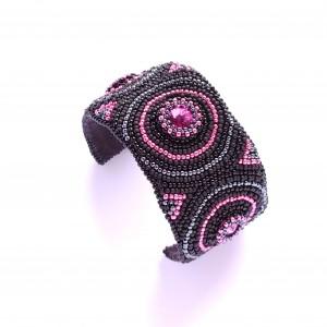 Czarno-różowa bransoletka ze Swarovskim