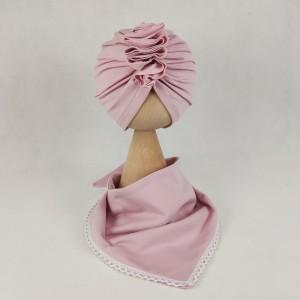 Zestaw turban i chusta pudrowy róż z koronką