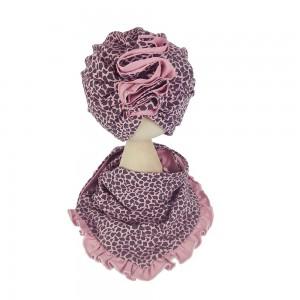 Zestaw turban i chusta panterka na brudnym różu