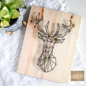 Obraz na ścianę Jeleń String Art Drewno naturalne Skandynawski boho