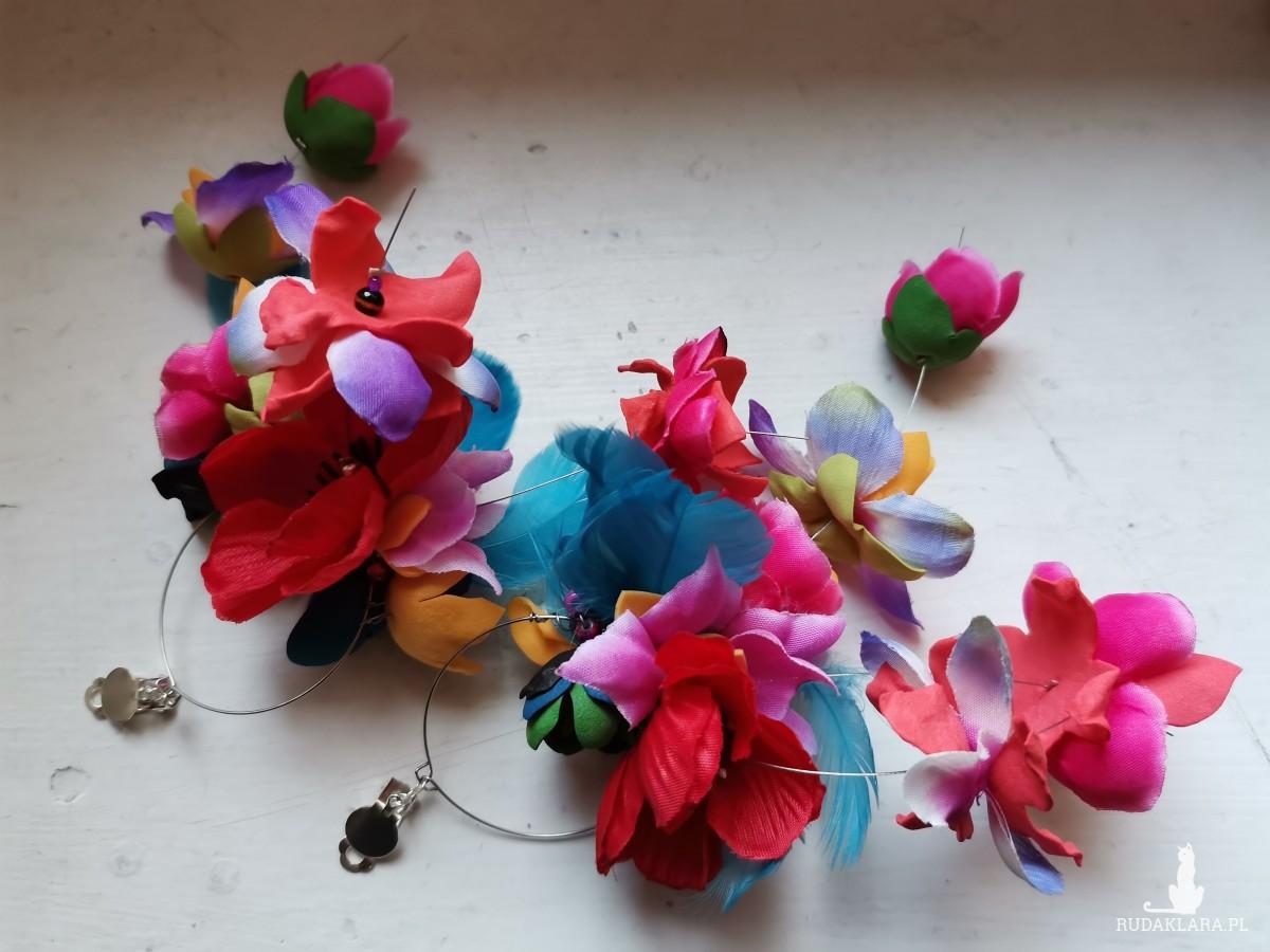 Klipsy kwiatowe lekkie długie wiszące