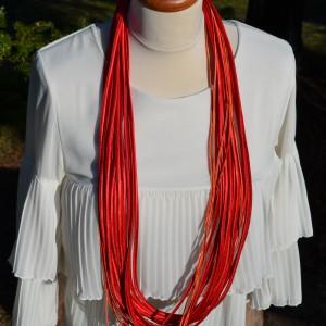 Naszyjnik Atłasowy Długi Czerwony