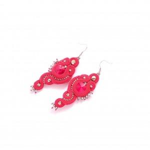 Czerwone kolczyki sutasz z kryształkiem Swarovski