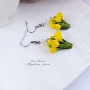 Kolczyki z  żółtymi tulipanami