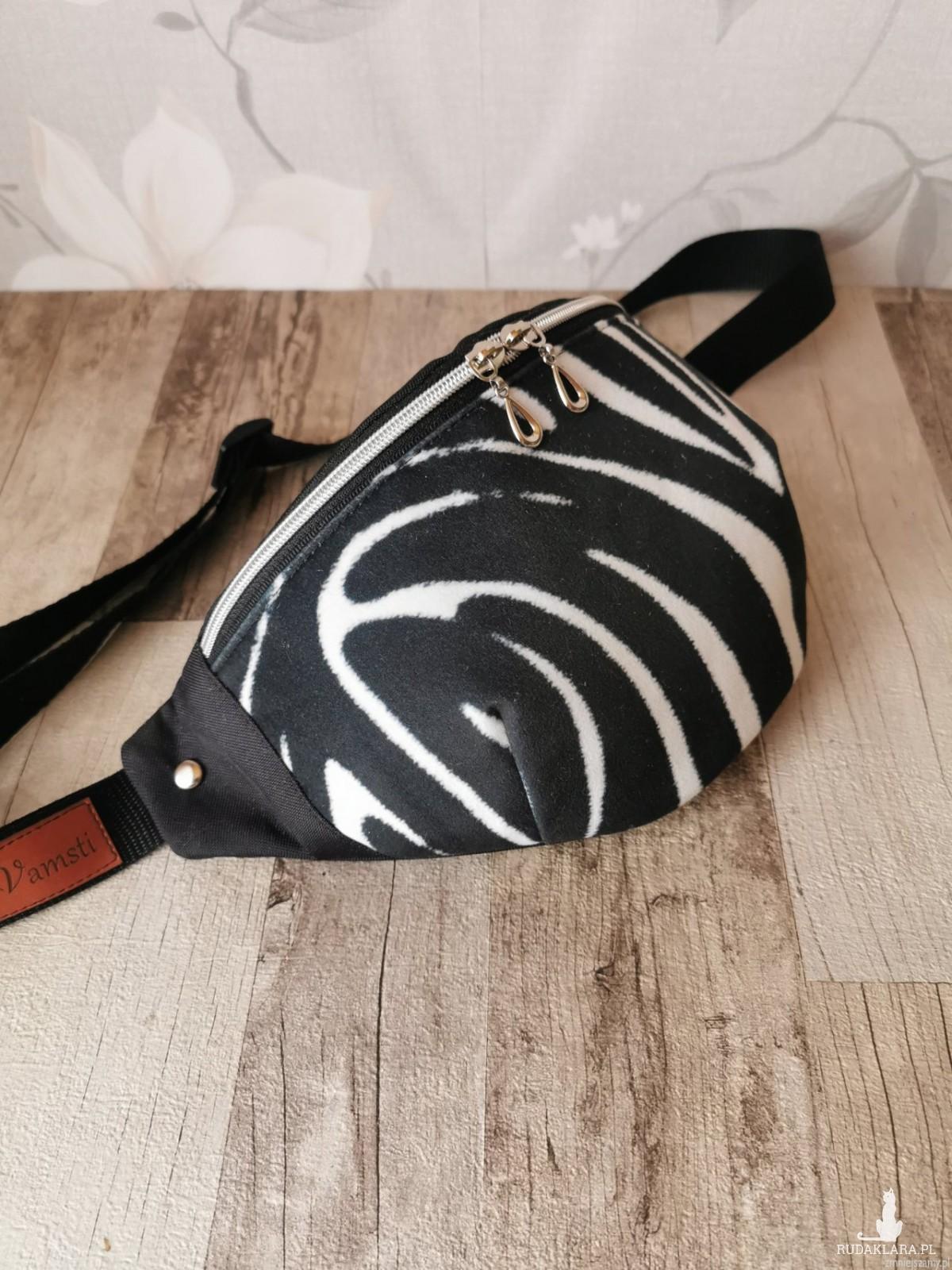 Nerka saszetka biodrowa wodoodporna handmade torebka na pas torebka na ramię zebra