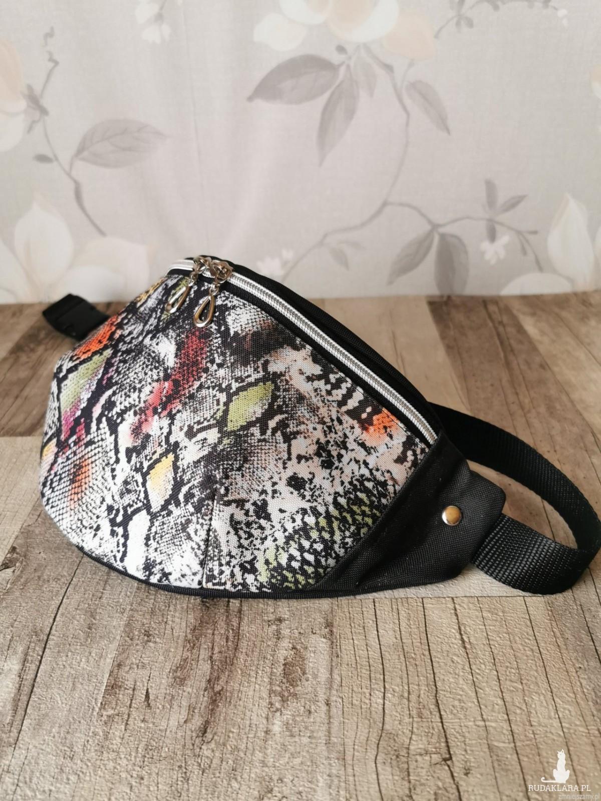 Nerka saszetka biodrowa wodoodporna handmade torebka na pas torebka na ramię kolorowa skóra węża