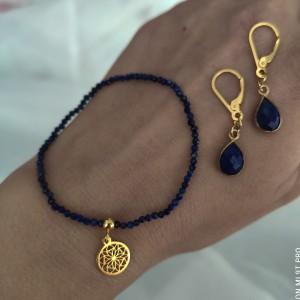 Komplet biżuterii z kamieni naturalnych bransoletka kolczyki