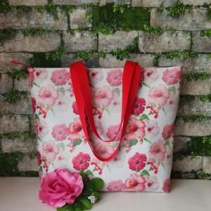 Torebka damska duża wodoodporna shopper bag na ramię torebka do reki torba handmade czerwone kwiaty