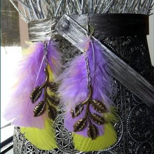 Długie kolczyki boho hippie z piórami