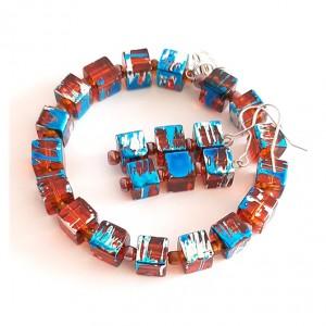 4408 bransoletka plus kolczyki szkło