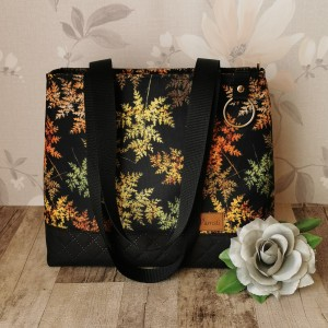 Torebka damska mały shopper bag na ramię do ręki wodoodporna handmade kolorowe liście paproci