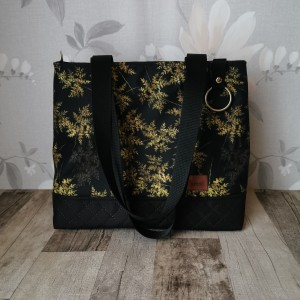 Torebka damska mały shopper bag na ramię do ręki wodoodporna handmade złote liście paproci