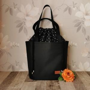 Torebka damska wodoodporna shopper bag z kominem w groszki na ramię torebka do ręki  handmade czarna