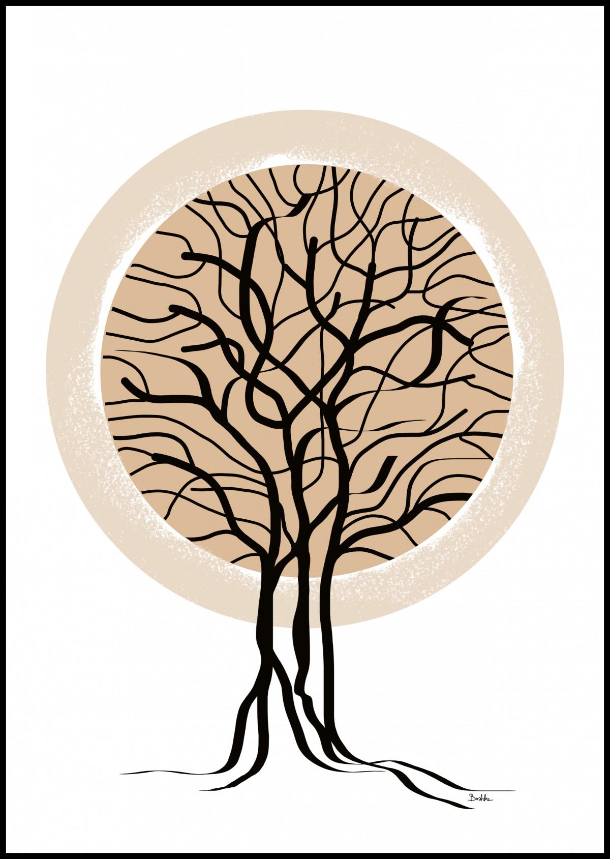 """""""Drzewo"""" grafika autorska, dekoracja na ścianę 30 x 40"""
