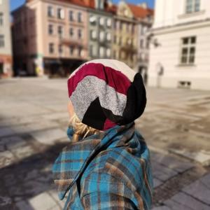 Czapka damska   patchworkowa