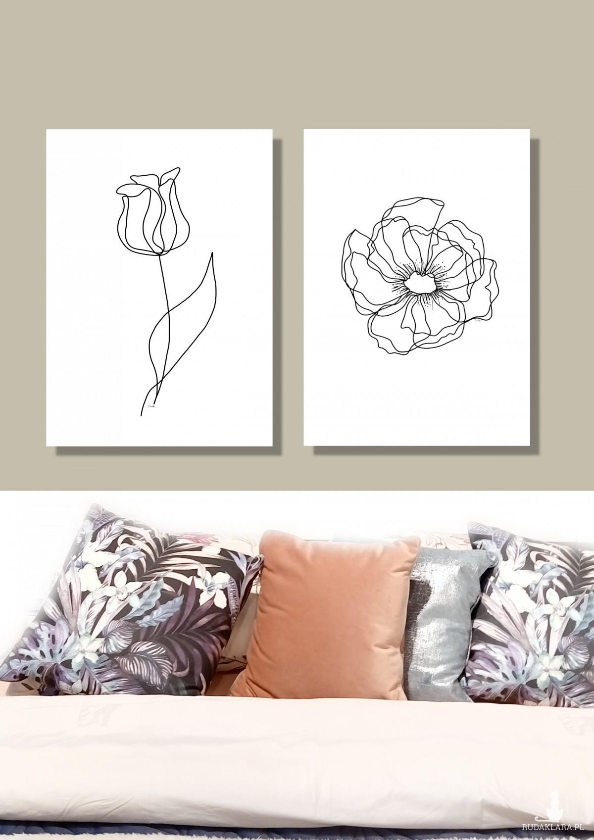 """Tulipan"" grafika autorska, minimalistyczna"