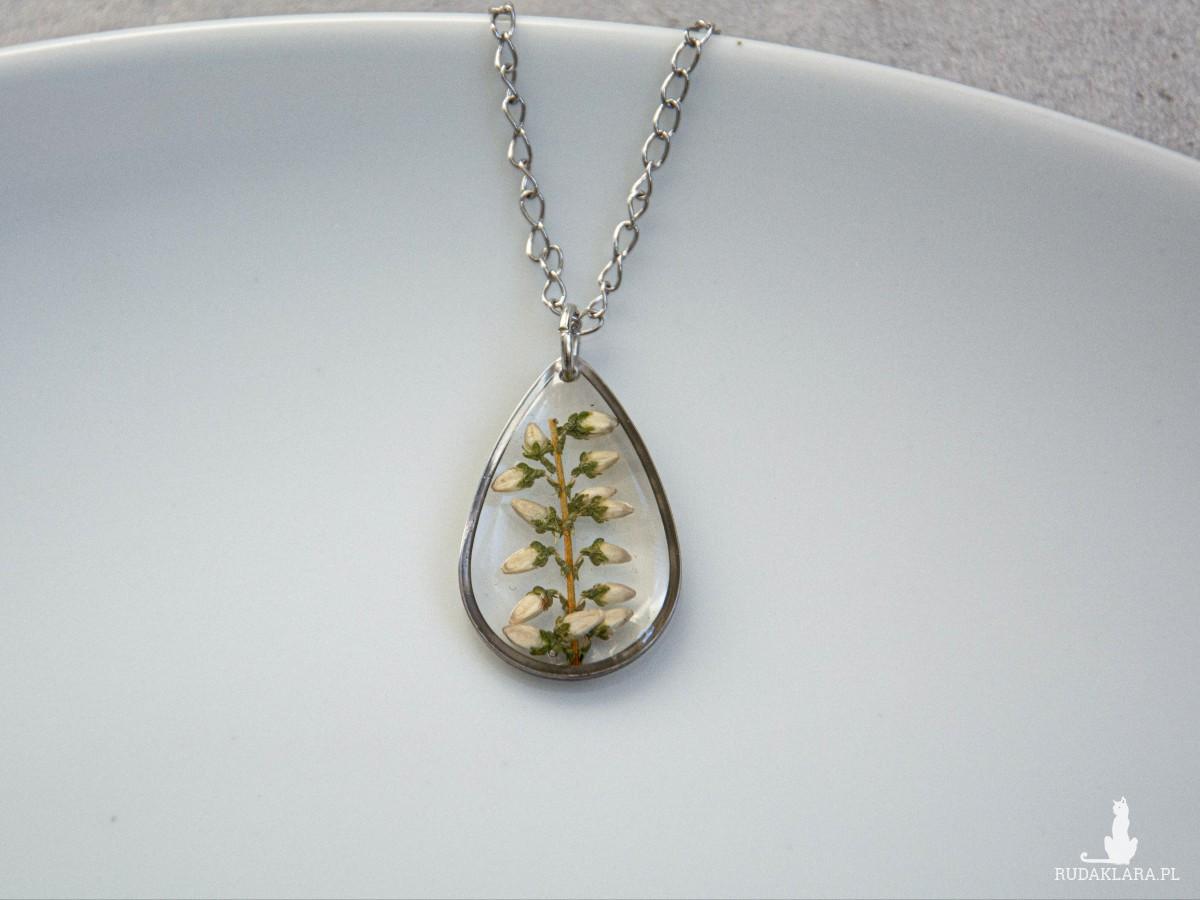 Komplet biżuterii z prawdziwymi kwiatami wrzosu, stal szlachetna
