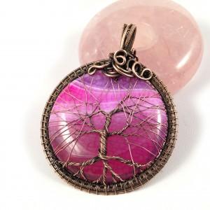 Drzewko szczęścia, Miedziany wisior z Agatem, ręcznie wykonany, prezent dla niej, prezent dla mamy, prezent urodzinowy, biżuteria autorska, amulet