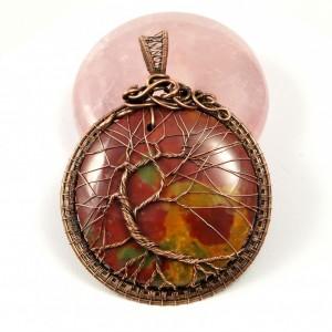 Drzewko szczęścia, Miedziany wisior z Agatem Indiana, ręcznie wykonany, prezent dla niej, prezent dla mamy, prezent urodzinowy, biżuteria autorska, amulet