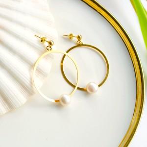 Kolczyki Duże Koła Z Naturalną Perłą Srebro 925 Złocone