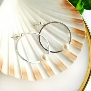 Kolczyki Duże Koła Z Naturalną Perłą Srebro 925