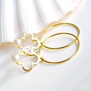 Kolczyki Koniczyna Z Naturalną Perłą Srebro 925 Złocone