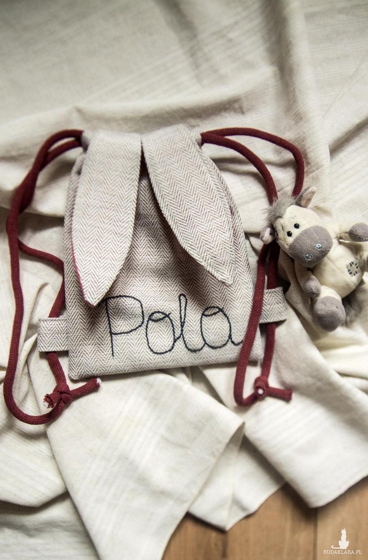 Mini plecak króliczek z imieniem Pola