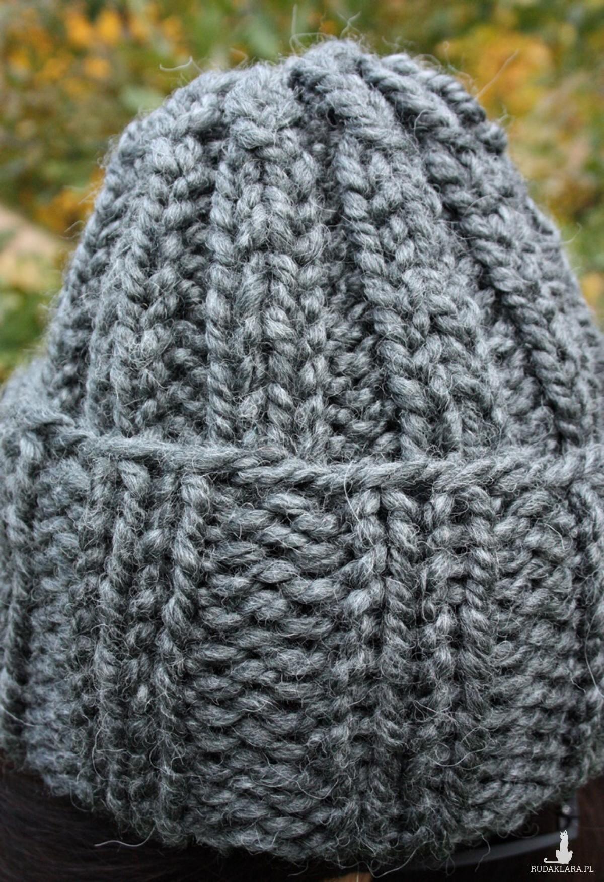 Szara czapka handmade Alpine Alpaca