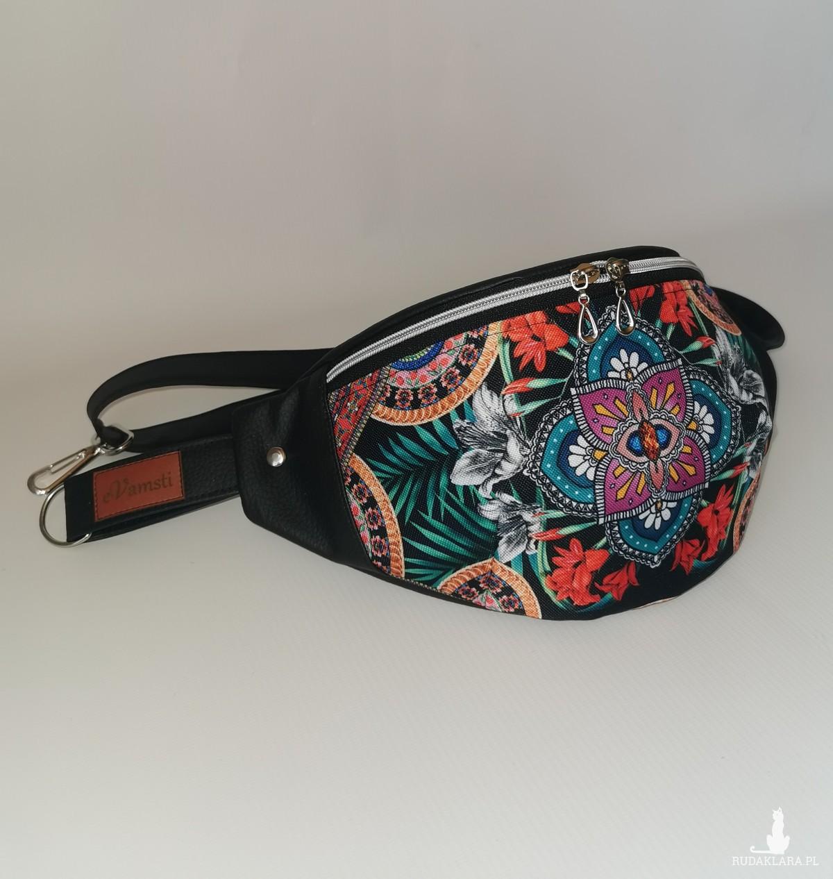 Nerka saszetka biodrowa wodoodporna handmade torebka na pas torebka na ramię mini torebka ekoskóra  pomarańczowe kwiatuszki
