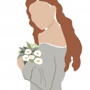 """Grafika """"Kobieta z kwiatami"""""""