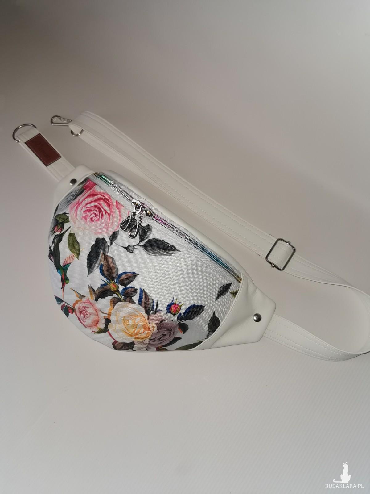 Nerka saszetka biodrowa wodoodporna handmade torebka na pas torebka na ramię mini torebka ekoskóra w róże