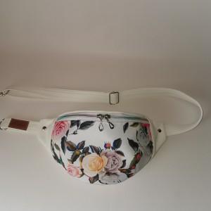 Nerka saszetka biodrowa wodoodporna handmade torebka na pas torebka na ramię mini torebka ekoskóra w róże rozmiar L