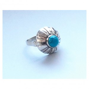 110 pierścionek vintage, srebrny pierścionek z turkusem, kopułka