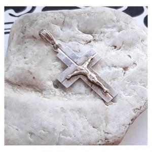 115 srebrny wisiorek, zawieszka; krzyż