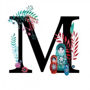 Alfabet litera M 50x70