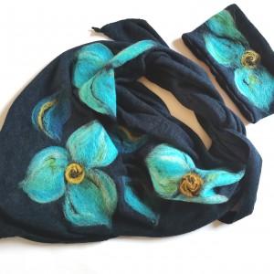 Komplet chusta handmade wełniana handmade