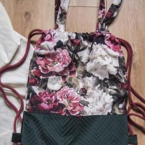 Plecak torba 2w1 w kwiaty