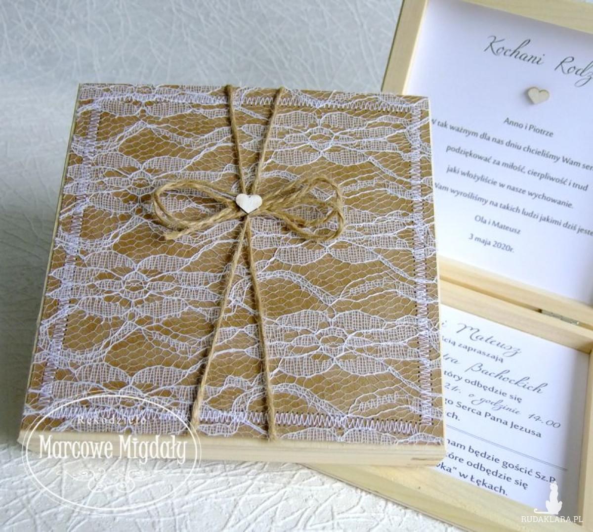 Prośba do rodziców o błogosławieństwo, drewniane zaproszenie ślubne.