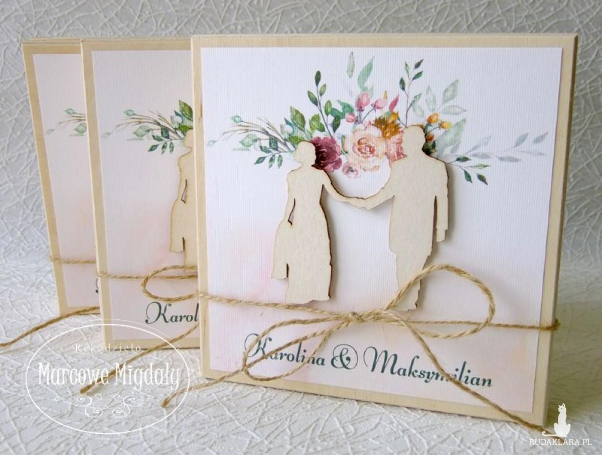 Drewniane zaproszenie na ślub dla Rodzców lub Chrzestnych.