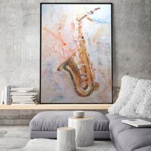 Saksofon, obraz malowany na płótnie