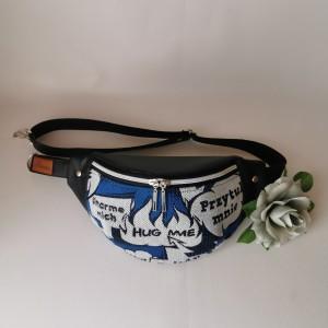 Nerka saszetka biodrowa wodoodporna handmade torebka na pas torebka na ramię mini torebka ekoskóra chusta Przytul mnie rozmiar L