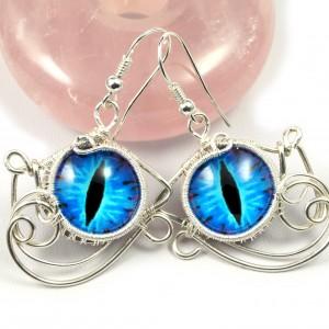 Niebieskie Smocze oko, ręcznie robione srebrne kolczyki, prezent dla niej, prezent dla mamy, prezent urodzinowy, biżuteria autorska