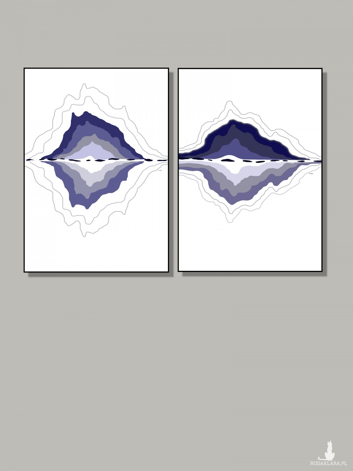 """Grafika """"Granatowy krajobraz"""" sygnowana abstrakcja"""