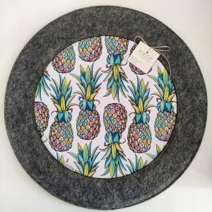 Podkładka filcowa okrągła z ananasem - duża