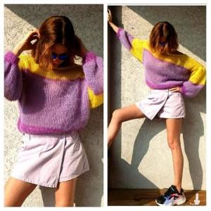 Sweter PRIMAVERA w kolorze  lila  , żółty