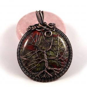 Kamień krwisty, krwawnik, heliotrop, Drzewko szczęścia, Miedziany wisior z kamieniem krwistym, ręcznie wykonany, prezent dla niej, dla mamy