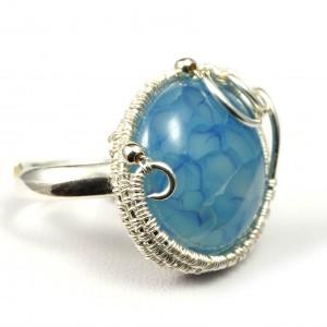 Agat, Srebrny regulowany pierścionek z agatem dragon vein regulowany, prezent dla niej prezent dla mamy, prezent dla kobiety handmade pomysł na prezent